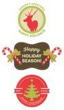 套葡萄酒圣诞节徽章 免版税库存图片