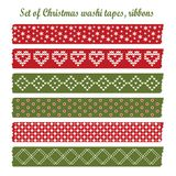 套葡萄酒圣诞节washi磁带,丝带,元素,逗人喜爱的设计样式 免版税图库摄影