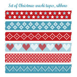 套葡萄酒圣诞节washi磁带,丝带,元素 免版税库存照片