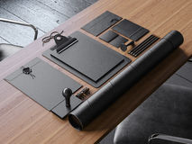 套葡萄酒在桌上的blanc元素 3d 免版税图库摄影