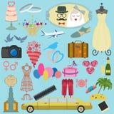 套葡萄酒婚礼、时尚样式和旅行元素象 库存图片