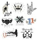 套葡萄酒摩托车徽章和设计元素 库存照片