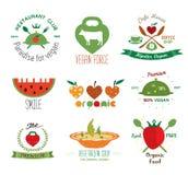 套葡萄酒有机素食主义者标签,商标和设计元素 免版税库存照片