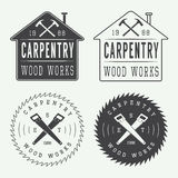 套葡萄酒木匠业标签、象征和商标 向量例证
