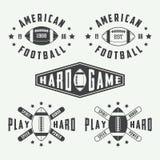套葡萄酒橄榄球和橄榄球标签、象征和商标 免版税库存图片