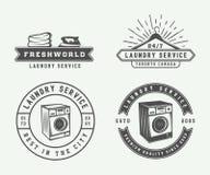 套葡萄酒洗衣店、清洁或者铁服务商标,象征, 库存例证