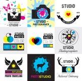 套葡萄酒照片演播室商标、标签、徽章和设计元素 库存图片