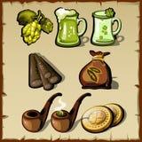 套葡萄酒爱尔兰象征主义,熊,烟草 库存例证