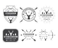套葡萄酒狩猎标签、商标、徽章和设计元素 库存照片