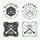 套葡萄酒狩猎标签、商标、徽章和设计元素 免版税图库摄影