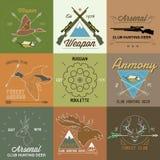 套葡萄酒狩猎标签和设计元素 免版税库存图片