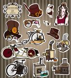 套葡萄酒蒸汽自行车和辅助部件 Steampunk样式 模板卡片的steampunk设计 大鱼 库存图片