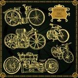 套葡萄酒蒸汽自行车 Steampunk样式 库存照片