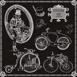 套葡萄酒蒸汽自行车 Steampunk样式 免版税图库摄影