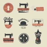 套葡萄酒裁缝标签、象征和设计元素 减速火箭 免版税库存图片