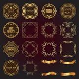 套葡萄酒金子设计元素标签,框架,丝带 库存照片