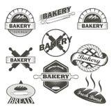 套葡萄酒面包店标签和设计元素 免版税库存图片