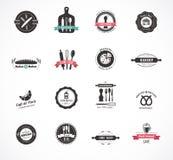 套葡萄酒餐馆和食物徽章,标签 免版税库存照片