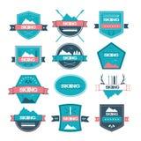 套葡萄酒滑雪标签、商标和设计元素 图库摄影