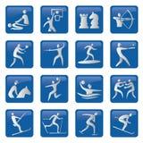 套蓝色体育运动图标 向量例证