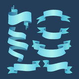 套蓝色典雅的丝带 库存图片