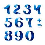 套蓝色颜色发光的丝带编号  图库摄影