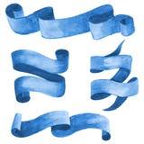 套蓝色水彩丝带和横幅 也corel凹道例证向量 免版税图库摄影