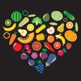 套蔬菜和水果例证 免版税库存图片