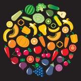 套蔬菜和水果在环形轧材 图库摄影