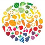 套蔬菜和水果在环形轧材 免版税库存图片