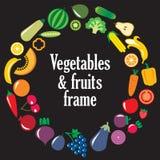 套蔬菜和水果框架 库存图片