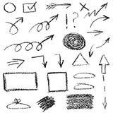 套蜡笔箭头,隔绝在白色背景 免版税图库摄影