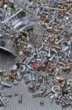 套螺栓螺丝和坚果 免版税库存照片