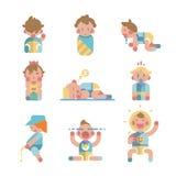 套行动的逗人喜爱的小婴孩 向量 库存例证