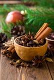 套被仔细考虑的酒的香料在木桌上的陶瓷碗 免版税库存图片