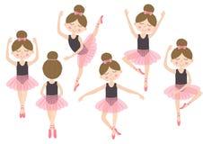 套被隔绝的逗人喜爱的芭蕾舞女演员女孩 库存图片
