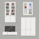 套被隔绝的书橱、电视内阁和衣橱家具 免版税图库摄影