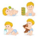 套被隔绝的男婴用不同的位置 免版税库存照片