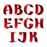 套被隔绝的红颜色发光的丝带字体A-K 库存照片