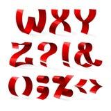 套被隔绝的红颜色发光的丝带字体W-Z 库存照片