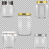套装于罐中的空的玻璃瓶子 免版税库存图片