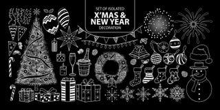 套装饰圣诞节和新年 仅传染媒介例证白色概述 库存例证