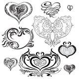 套装饰心脏用不同的样式 免版税库存照片