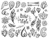 套装饰Boho样式元素 向量例证
