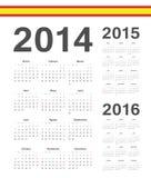 套西班牙语2014年2015年, 2016年传染媒介日历 库存图片