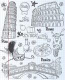 套视域在意大利,建筑学,食物,运输,项目 黑色等高 免版税图库摄影