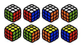 套解决的rubik从每边求逗人喜爱的例证在白色背景隔绝的所有可能的被装配的位矢的立方 库存例证