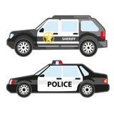 套警察汽车 警长都市巡逻车和汽车  安全部门, 911或者警察的标志 免版税图库摄影