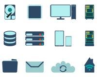 套计算机和datebase象 平的传染媒介例证 免版税库存图片