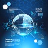 套计算机未来派Infographic元素世界地球技术摘要背景模板图和图表,横幅 库存照片